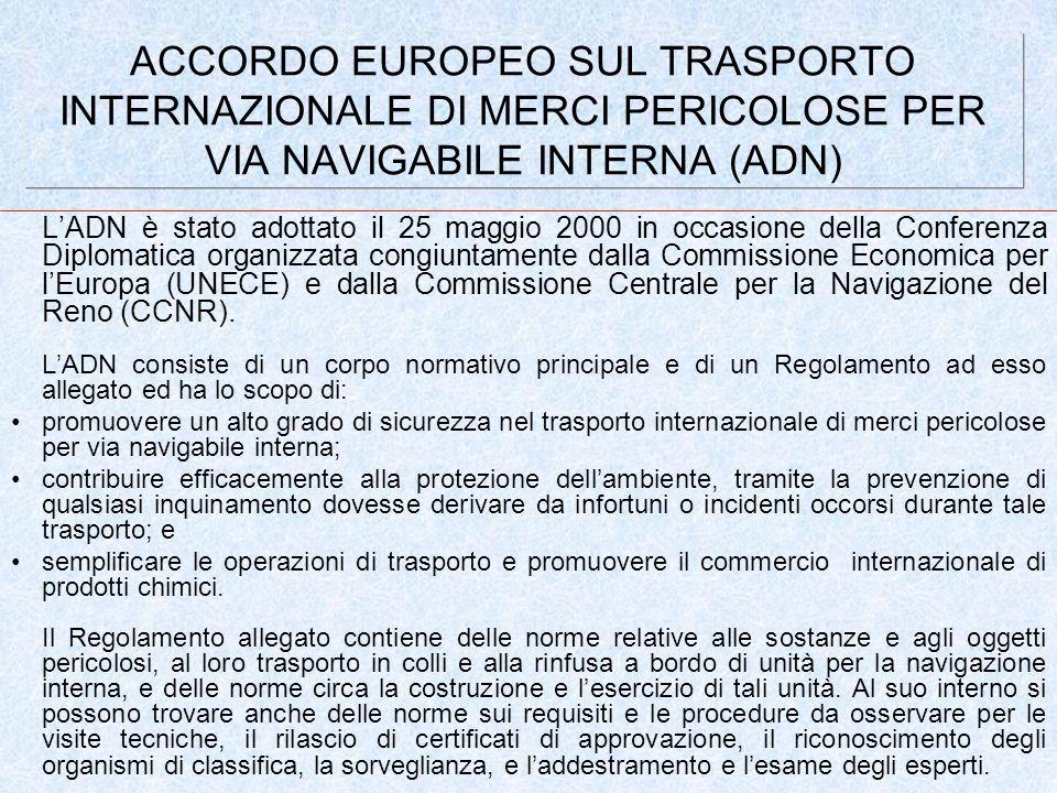 ACCORDO EUROPEO SUL TRASPORTO INTERNAZIONALE DI MERCI PERICOLOSE PER VIA NAVIGABILE INTERNA (ADN) LADN è stato adottato il 25 maggio 2000 in occasione