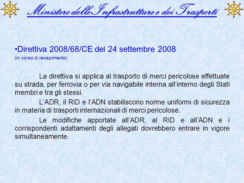 Ministero delle Infrastrutture e dei Trasporti Direttiva 2008/68/CE del 24 settembre 2008 (in corso di recepimento) La direttiva si applica al traspor