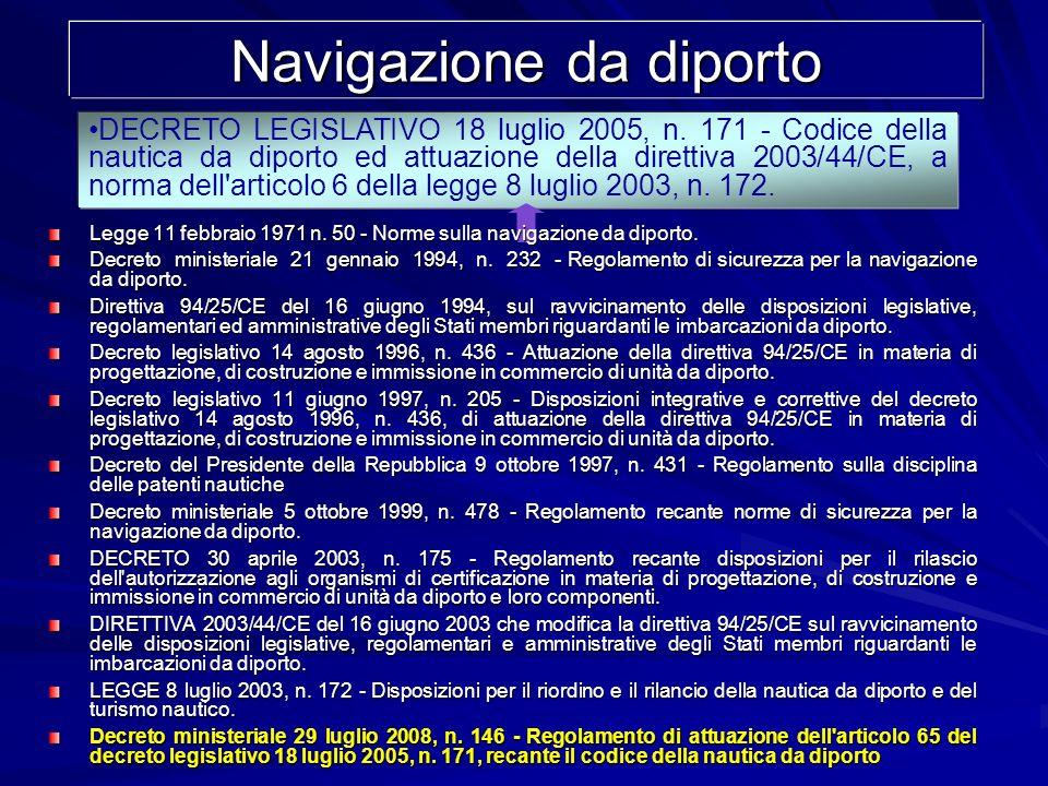 Navigazione da diporto DECRETO LEGISLATIVO 18 luglio 2005, n. 171 - Codice della nautica da diporto ed attuazione della direttiva 2003/44/CE, a norma