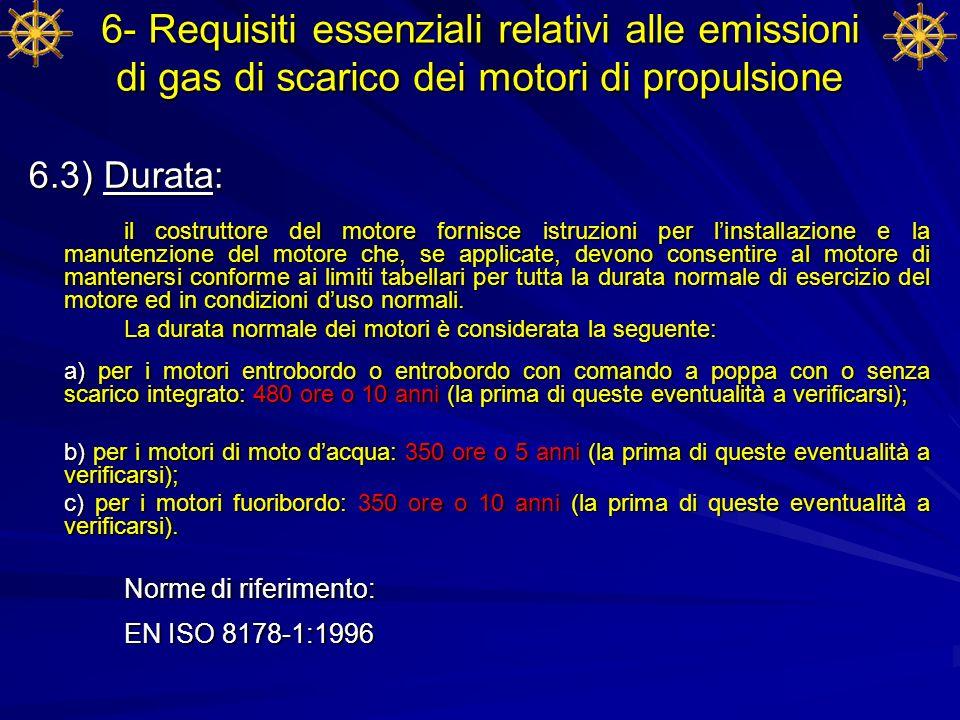 6- Requisiti essenziali relativi alle emissioni di gas di scarico dei motori di propulsione 6.3) Durata: il costruttore del motore fornisce istruzioni