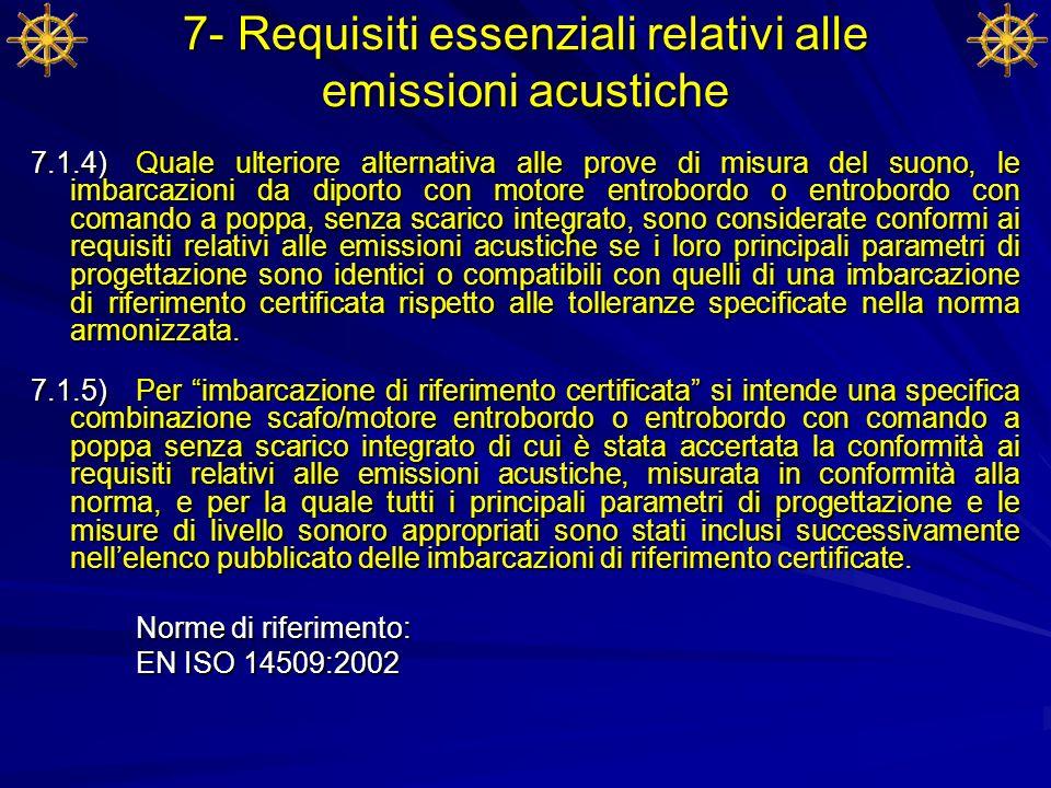 7- Requisiti essenziali relativi alle emissioni acustiche 7.1.4) Quale ulteriore alternativa alle prove di misura del suono, le imbarcazioni da diport