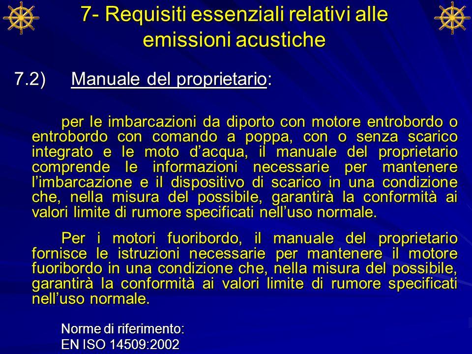 7- Requisiti essenziali relativi alle emissioni acustiche 7.2) Manuale del proprietario: per le imbarcazioni da diporto con motore entrobordo o entrob