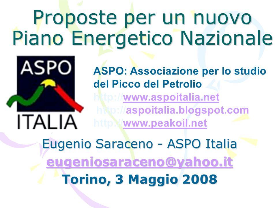 Proposte per un nuovo Piano Energetico Nazionale Eugenio Saraceno - ASPO Italia eugeniosaraceno@yahoo.it Torino, 3 Maggio 2008 ASPO: Associazione per lo studio del Picco del Petrolio http://www.aspoitalia.net http://aspoitalia.blogspot.comwww.aspoitalia.net http://www.peakoil.netwww.peakoil.net