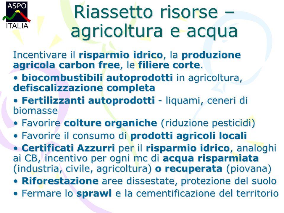 Riassetto risorse – agricoltura e acqua Incentivare il risparmio idrico, la produzione agricola carbon free, le filiere corte.
