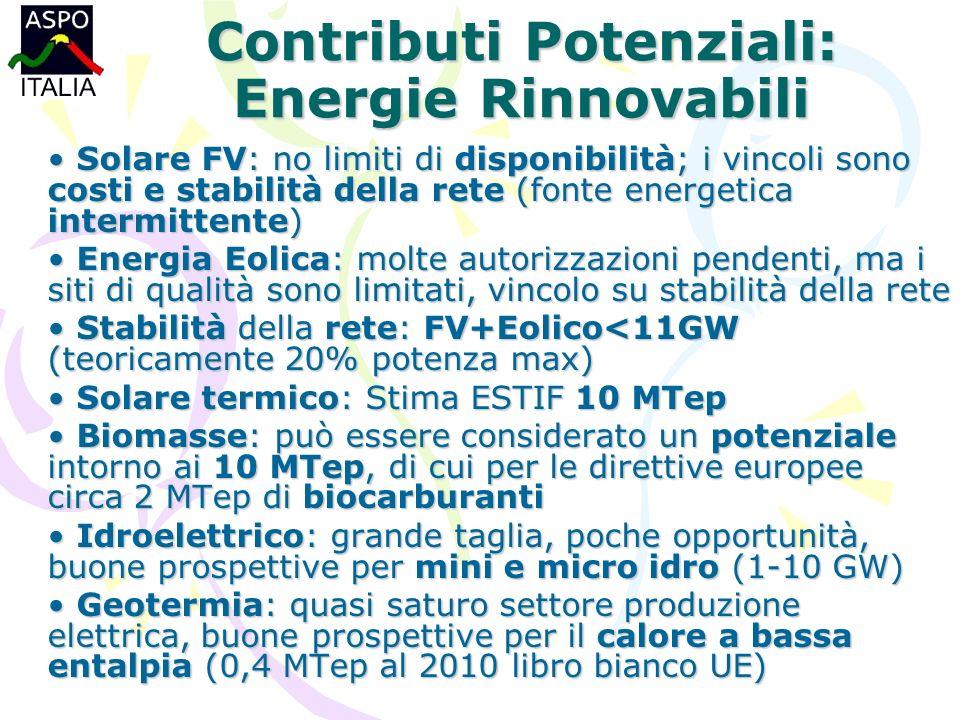 Contributi Potenziali: Energie Rinnovabili Solare FV: no limiti di disponibilità; i vincoli sono costi e stabilità della rete (fonte energetica intermittente) Solare FV: no limiti di disponibilità; i vincoli sono costi e stabilità della rete (fonte energetica intermittente) Energia Eolica: molte autorizzazioni pendenti, ma i siti di qualità sono limitati, vincolo su stabilità della rete Energia Eolica: molte autorizzazioni pendenti, ma i siti di qualità sono limitati, vincolo su stabilità della rete Stabilità della rete: FV+Eolico<11GW (teoricamente 20% potenza max) Stabilità della rete: FV+Eolico<11GW (teoricamente 20% potenza max) Solare termico: Stima ESTIF 10 MTep Solare termico: Stima ESTIF 10 MTep Biomasse: può essere considerato un potenziale intorno ai 10 MTep, di cui per le direttive europee circa 2 MTep di biocarburanti Biomasse: può essere considerato un potenziale intorno ai 10 MTep, di cui per le direttive europee circa 2 MTep di biocarburanti Idroelettrico: grande taglia, poche opportunità, buone prospettive per mini e micro idro (1-10 GW) Idroelettrico: grande taglia, poche opportunità, buone prospettive per mini e micro idro (1-10 GW) Geotermia: quasi saturo settore produzione elettrica, buone prospettive per il calore a bassa entalpia (0,4 MTep al 2010 libro bianco UE) Geotermia: quasi saturo settore produzione elettrica, buone prospettive per il calore a bassa entalpia (0,4 MTep al 2010 libro bianco UE)