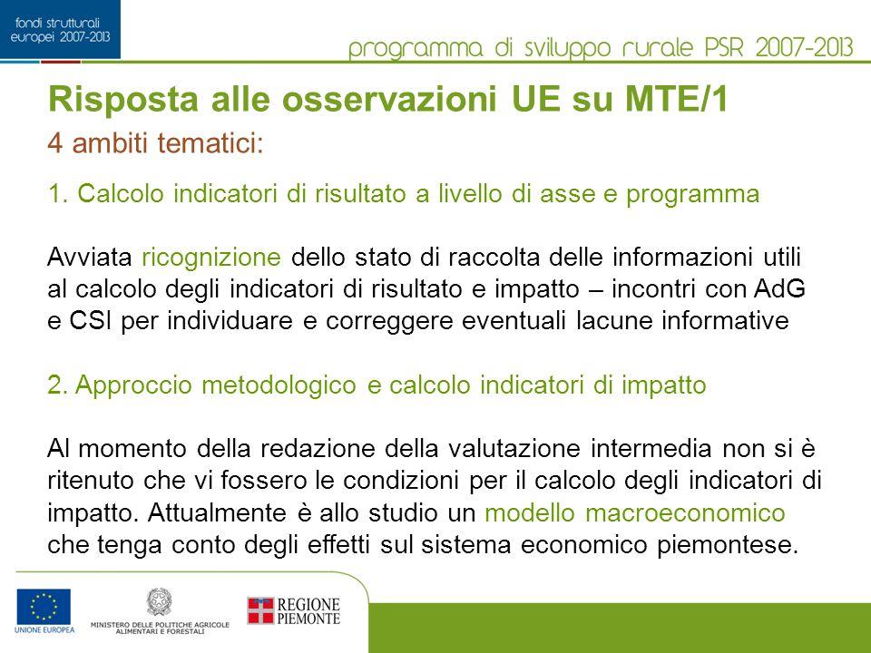 Risposta alle osservazioni UE su MTE/1 1.