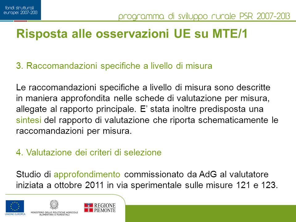 Risposta alle osservazioni UE su MTE/1 3.