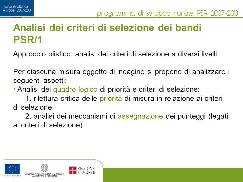 Analisi dei criteri di selezione dei bandi PSR/1 Approccio olistico: analisi dei criteri di selezione a diversi livelli.