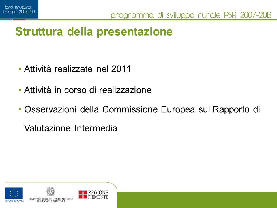 Struttura della presentazione Attività realizzate nel 2011 Attività in corso di realizzazione Osservazioni della Commissione Europea sul Rapporto di Valutazione Intermedia