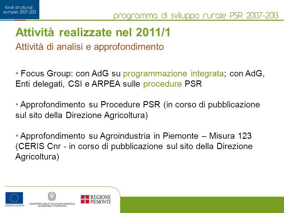 Attività realizzate nel 2011/1 Focus Group: con AdG su programmazione integrata; con AdG, Enti delegati, CSI e ARPEA sulle procedure PSR Approfondimento su Procedure PSR (in corso di pubblicazione sul sito della Direzione Agricoltura) Approfondimento su Agroindustria in Piemonte – Misura 123 (CERIS Cnr - in corso di pubblicazione sul sito della Direzione Agricoltura) Attività di analisi e approfondimento
