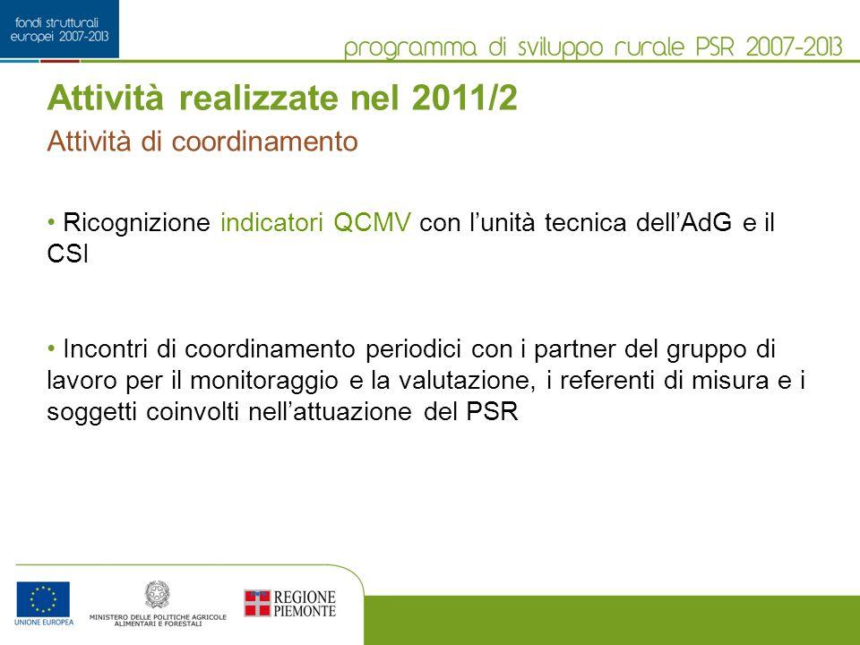 Attività realizzate nel 2011/2 Ricognizione indicatori QCMV con lunità tecnica dellAdG e il CSI Incontri di coordinamento periodici con i partner del gruppo di lavoro per il monitoraggio e la valutazione, i referenti di misura e i soggetti coinvolti nellattuazione del PSR Attività di coordinamento