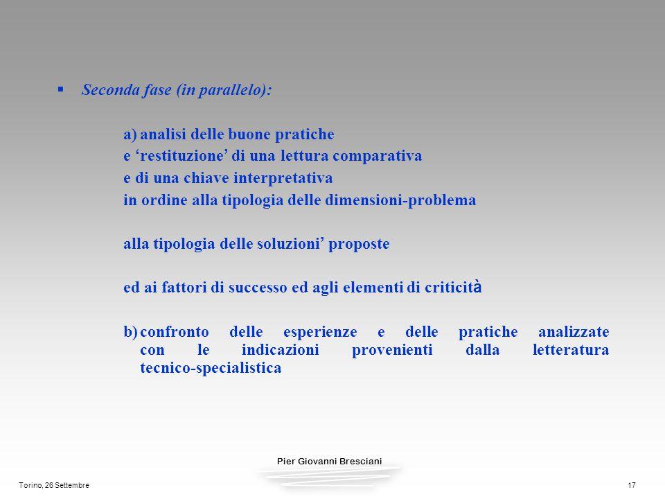 Pier Giovanni Bresciani Torino, 26 Settembre17 Seconda fase (in parallelo): a)analisi delle buone pratiche e restituzione di una lettura comparativa e