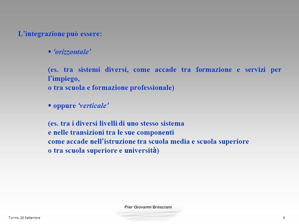 Pier Giovanni Bresciani Torino, 26 Settembre6 L integrazione può essere: orizzontale (es. tra sistemi diversi, come accade tra formazione e servizi pe