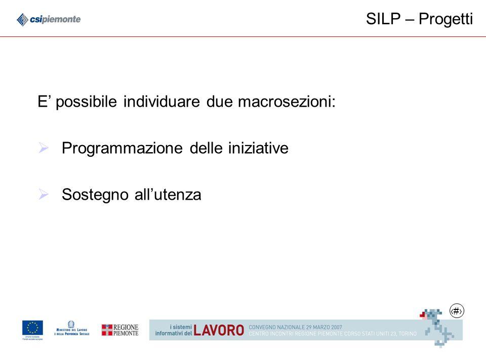 7 SILP – Progetti E possibile individuare due macrosezioni: Programmazione delle iniziative Sostegno allutenza