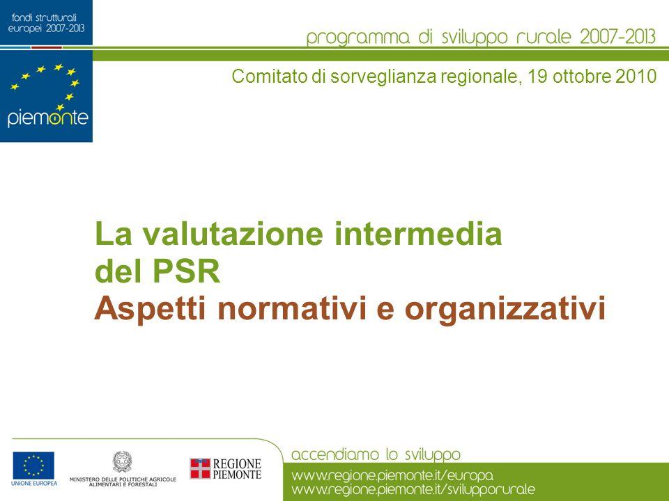 La valutazione intermedia del PSR Aspetti normativi e organizzativi Comitato di sorveglianza regionale, 19 ottobre 2010