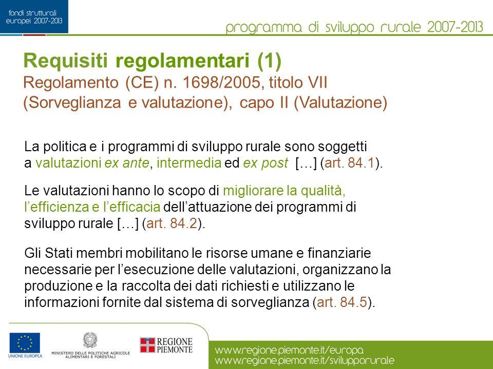 Requisiti regolamentari (1) Regolamento (CE) n. 1698/2005, titolo VII (Sorveglianza e valutazione), capo II (Valutazione) La politica e i programmi di