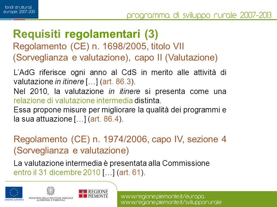 Linee guida (1) Quadro comune per il monitoraggio e la valutazione [ex art.