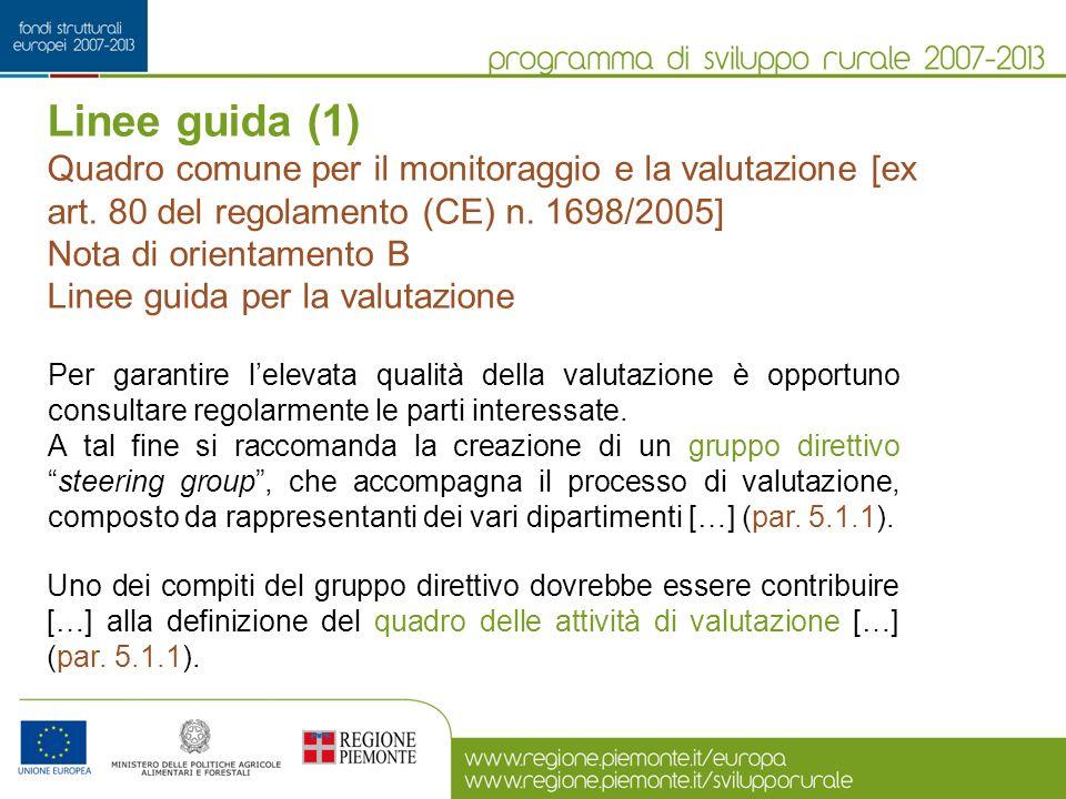 Linee guida (1) Quadro comune per il monitoraggio e la valutazione [ex art. 80 del regolamento (CE) n. 1698/2005] Nota di orientamento B Linee guida p
