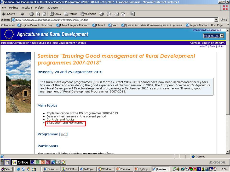Periodo 2007-2013 Valutazione ongoing Programmazione Valutazione ex ante Valutazione intermedia Attuazione Valutazione ex post Rete di valutazione per lo sviluppo rurale Helpdesk Comitato di esperti di valutazione QCMV Il sistema di valutazione