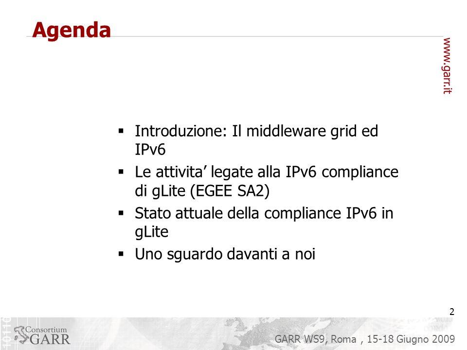 2 GARR WS9, Roma, 15-18 Giugno 2009 Agenda Introduzione: Il middleware grid ed IPv6 Le attivita legate alla IPv6 compliance di gLite (EGEE SA2) Stato attuale della compliance IPv6 in gLite Uno sguardo davanti a noi