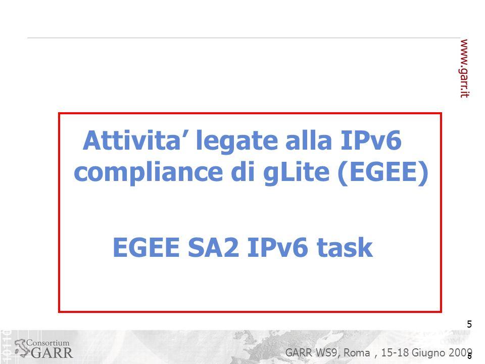 6 GARR WS9, Roma, 15-18 Giugno 2009 6 EGEE SA2 ha iniziato a lavorare sul problema della IPv6 compliance of gLite nel settembre 2006 - durante EGEE II Lenfasi iniziale e stata sul definire una metodologia Raccogliendo ed implementando i tool necessari Definendo un workflow operativo Dato il suo stretto legame col management della release di gLite, il progetto ETICS e stato coinvolto in una utile collaborazione (da Febbraio 07) (inizialmente comprendente anche EuChinaGRID).