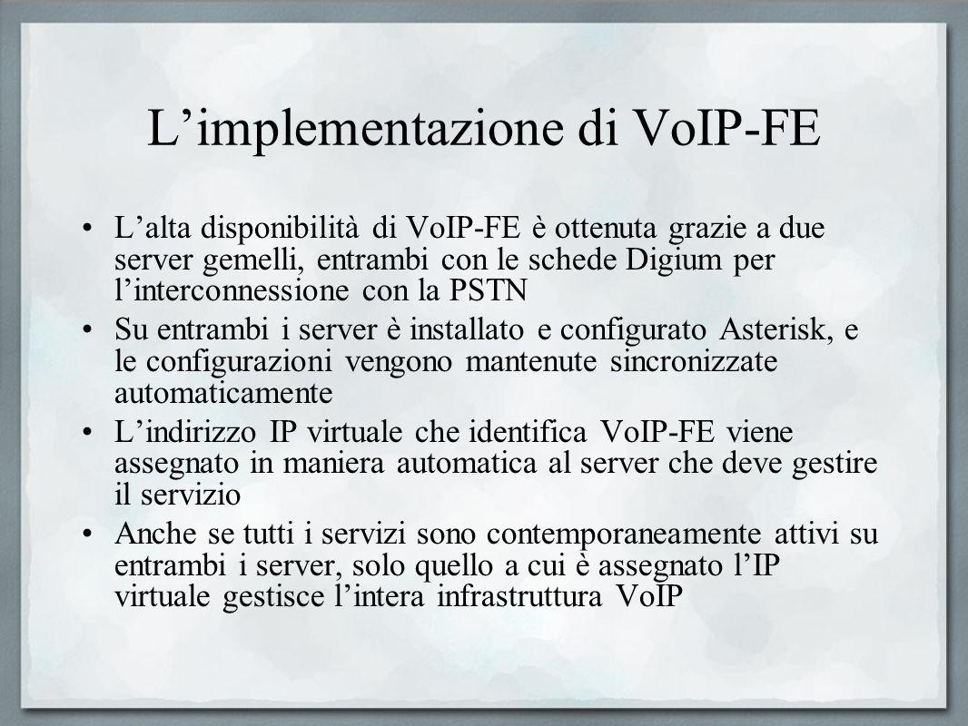 Limplementazione di VoIP-FE Lalta disponibilità di VoIP-FE è ottenuta grazie a due server gemelli, entrambi con le schede Digium per linterconnessione