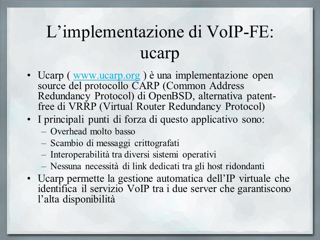 Limplementazione di VoIP-FE: ucarp Ucarp ( www.ucarp.org ) è una implementazione open source del protocollo CARP (Common Address Redundancy Protocol)