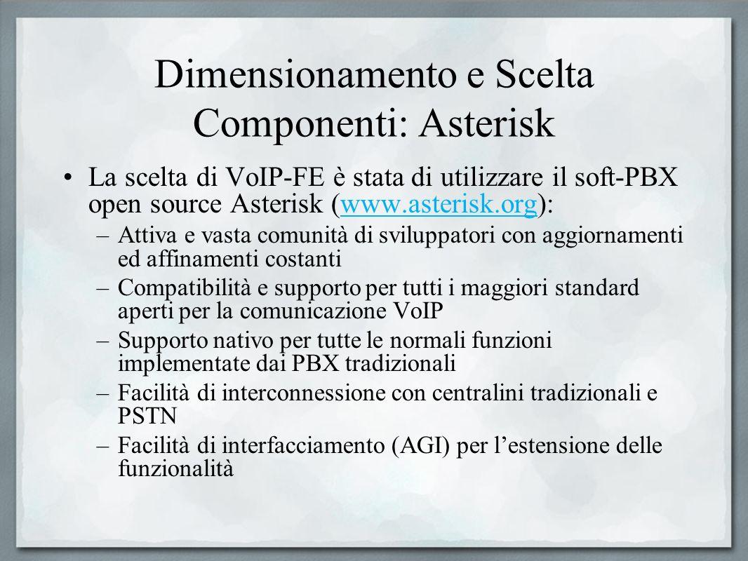 Dimensionamento e Scelta Componenti: Asterisk La scelta di VoIP-FE è stata di utilizzare il soft-PBX open source Asterisk (www.asterisk.org):www.aster