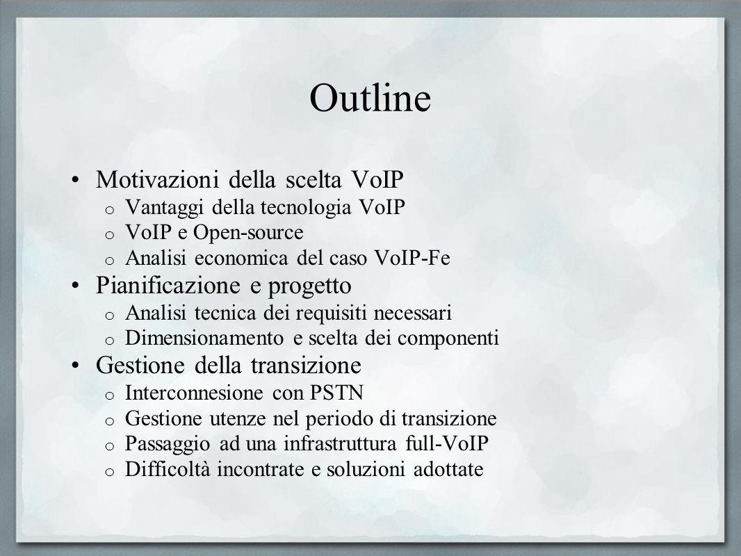 Outline Motivazioni della scelta VoIP o Vantaggi della tecnologia VoIP o VoIP e Open-source o Analisi economica del caso VoIP-Fe Pianificazione e prog