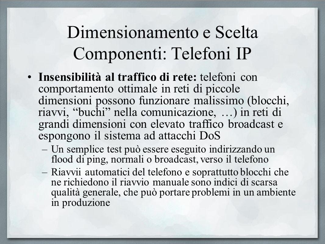 Dimensionamento e Scelta Componenti: Telefoni IP Insensibilità al traffico di rete: telefoni con comportamento ottimale in reti di piccole dimensioni