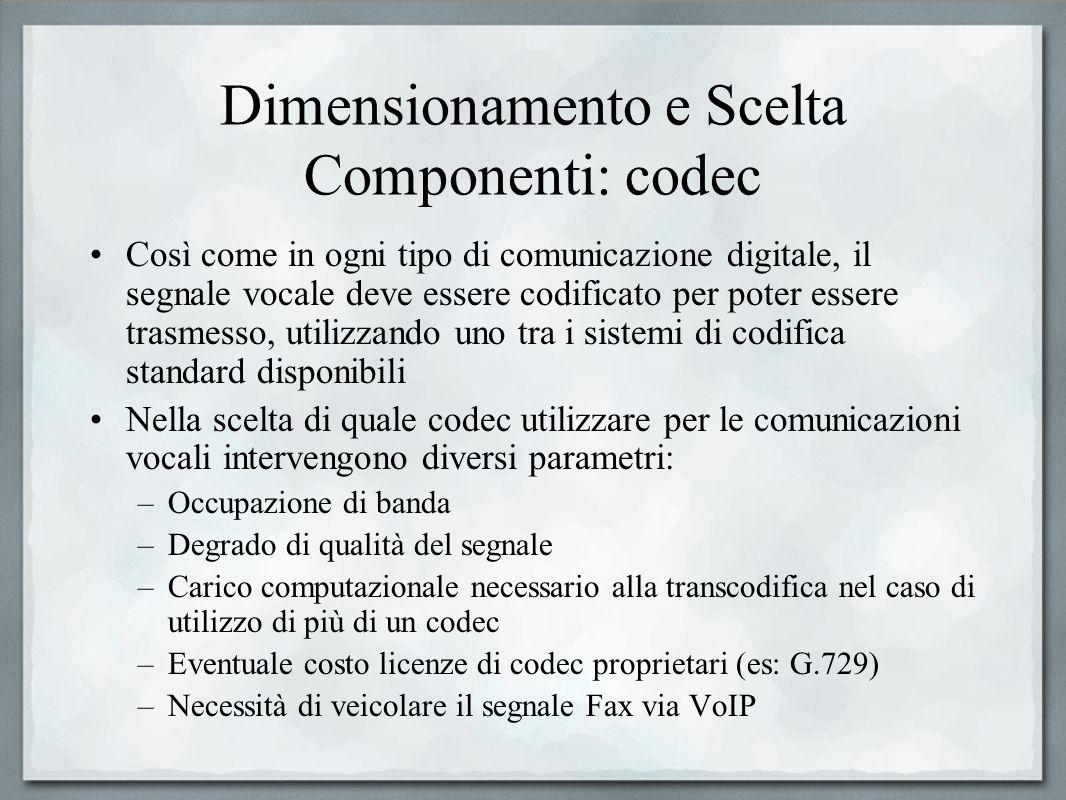 Dimensionamento e Scelta Componenti: codec Così come in ogni tipo di comunicazione digitale, il segnale vocale deve essere codificato per poter essere