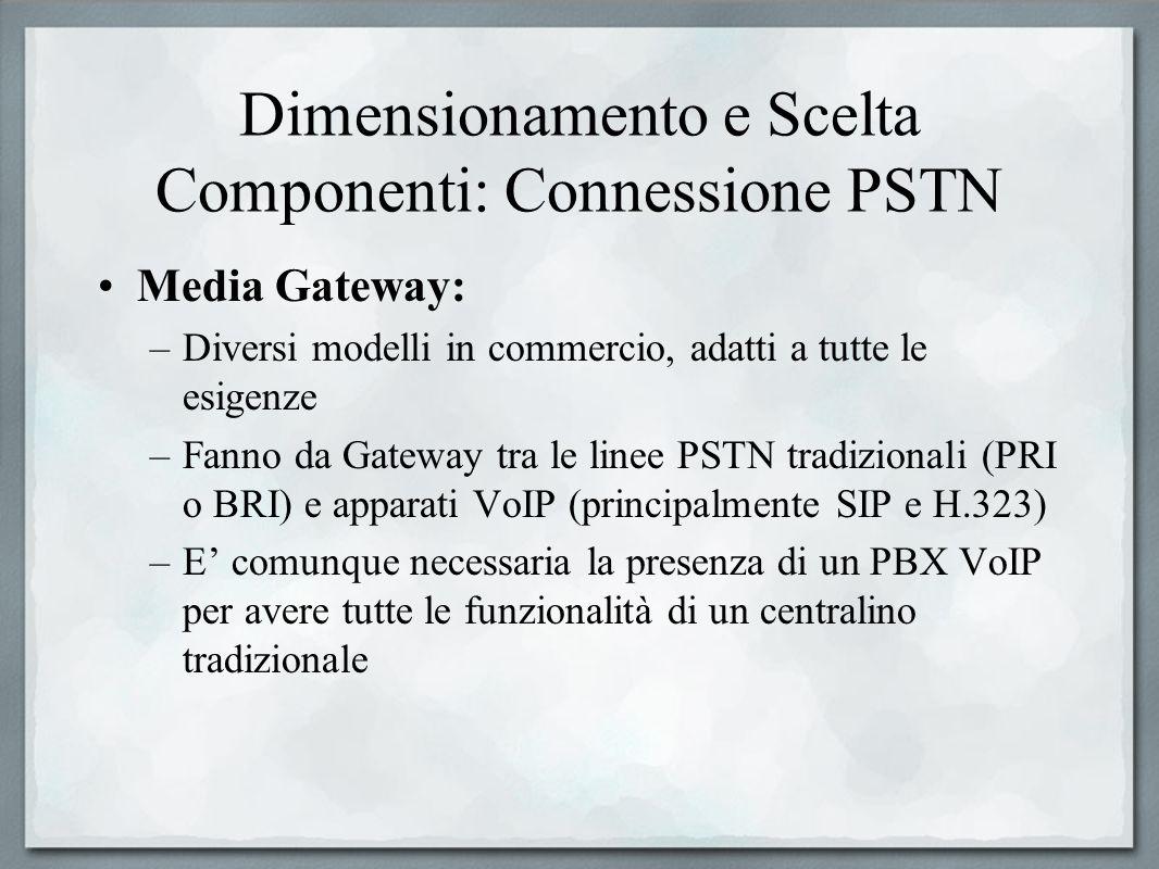 Dimensionamento e Scelta Componenti: Connessione PSTN Media Gateway: –Diversi modelli in commercio, adatti a tutte le esigenze –Fanno da Gateway tra l