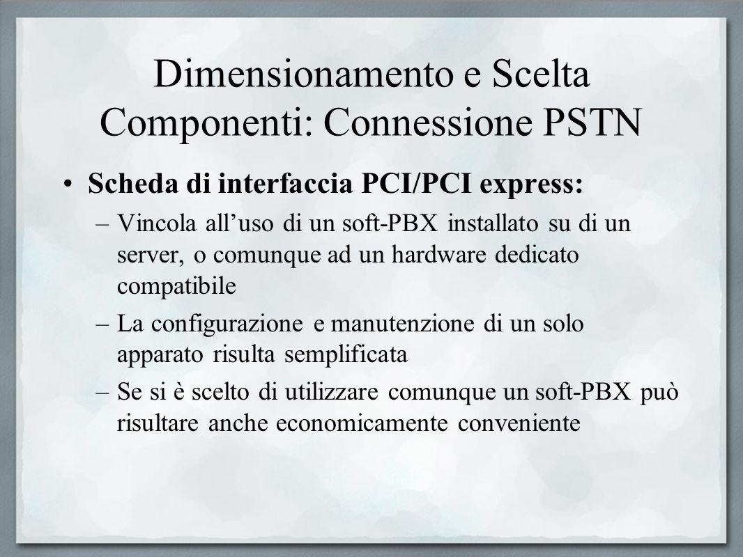 Dimensionamento e Scelta Componenti: Connessione PSTN Scheda di interfaccia PCI/PCI express: –Vincola alluso di un soft-PBX installato su di un server