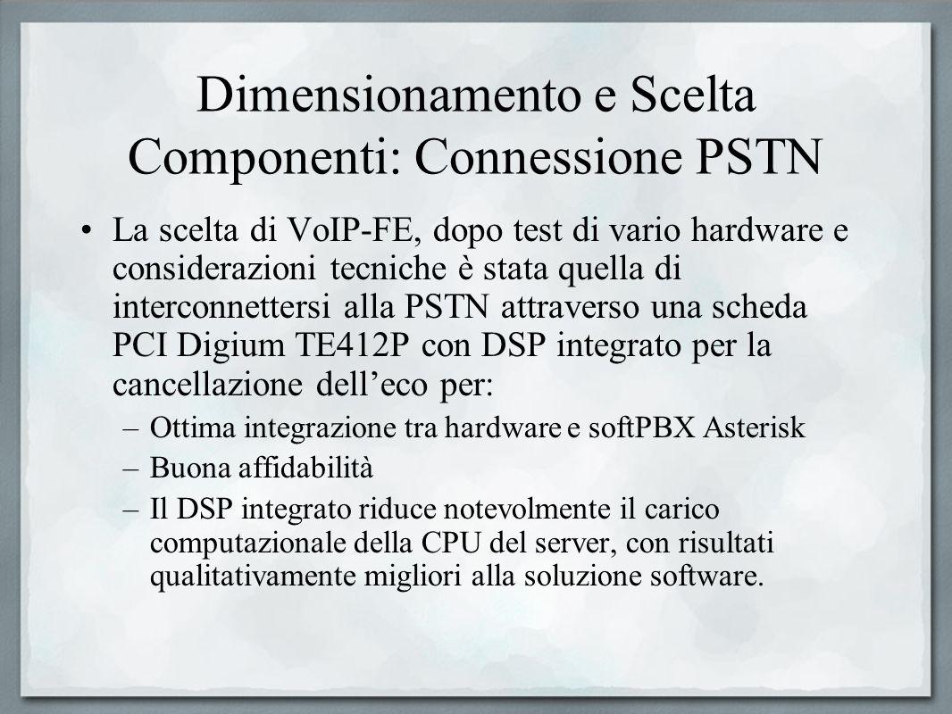 Dimensionamento e Scelta Componenti: Connessione PSTN La scelta di VoIP-FE, dopo test di vario hardware e considerazioni tecniche è stata quella di in