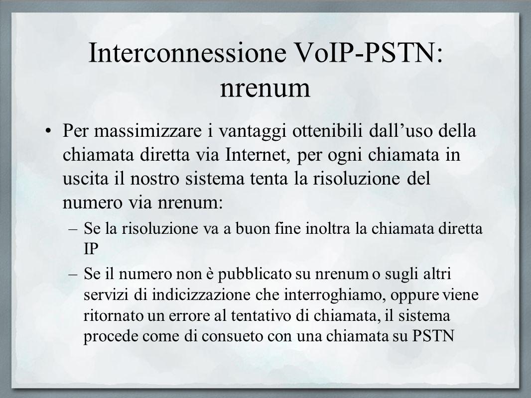 Interconnessione VoIP-PSTN: nrenum Per massimizzare i vantaggi ottenibili dalluso della chiamata diretta via Internet, per ogni chiamata in uscita il