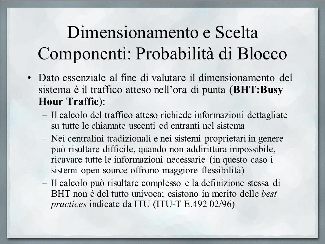 Dimensionamento e Scelta Componenti: Probabilità di Blocco Dato essenziale al fine di valutare il dimensionamento del sistema è il traffico atteso nel