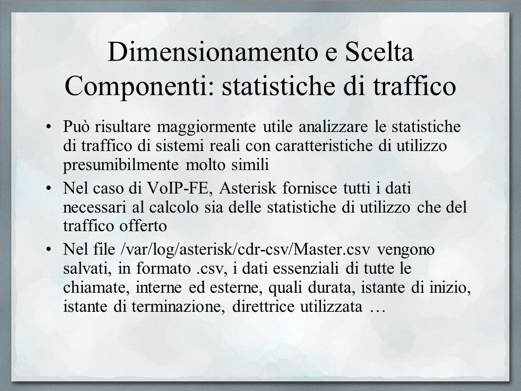 Dimensionamento e Scelta Componenti: statistiche di traffico Può risultare maggiormente utile analizzare le statistiche di traffico di sistemi reali c
