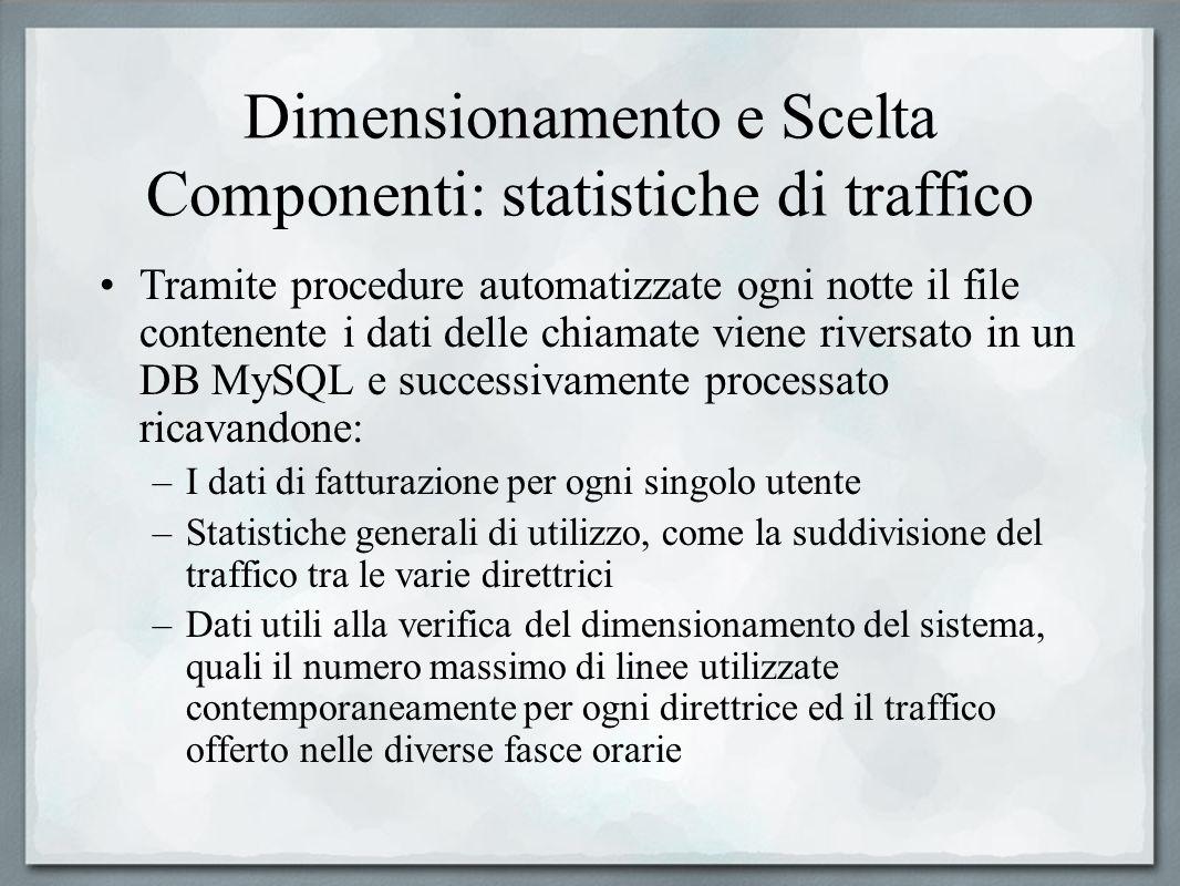 Dimensionamento e Scelta Componenti: statistiche di traffico Tramite procedure automatizzate ogni notte il file contenente i dati delle chiamate viene