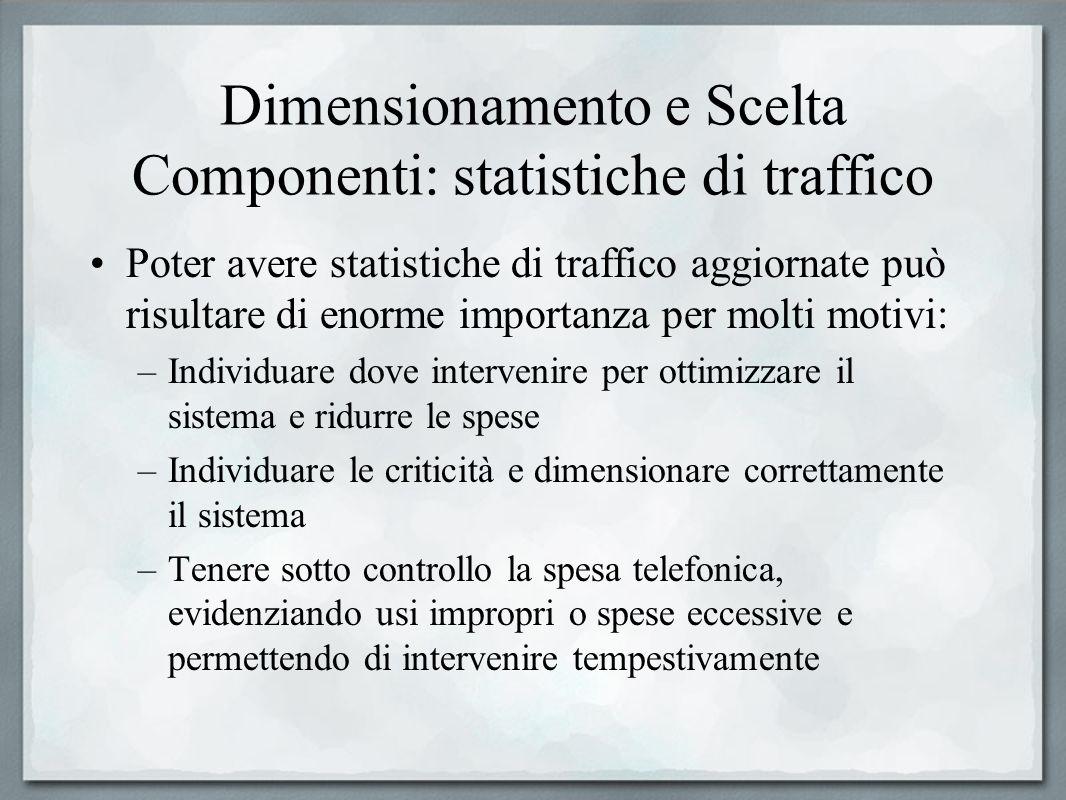 Dimensionamento e Scelta Componenti: statistiche di traffico Poter avere statistiche di traffico aggiornate può risultare di enorme importanza per mol