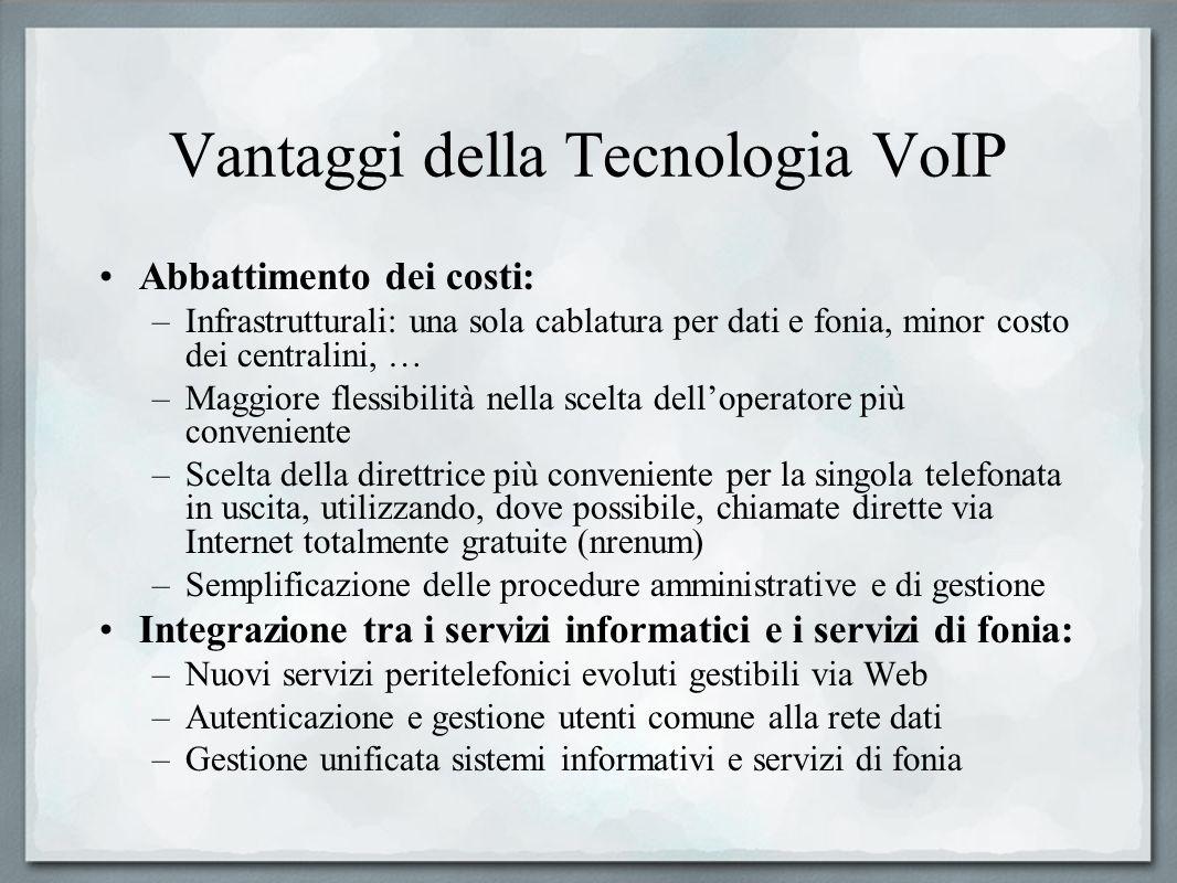 Vantaggi della Tecnologia VoIP Abbattimento dei costi: –Infrastrutturali: una sola cablatura per dati e fonia, minor costo dei centralini, … –Maggiore