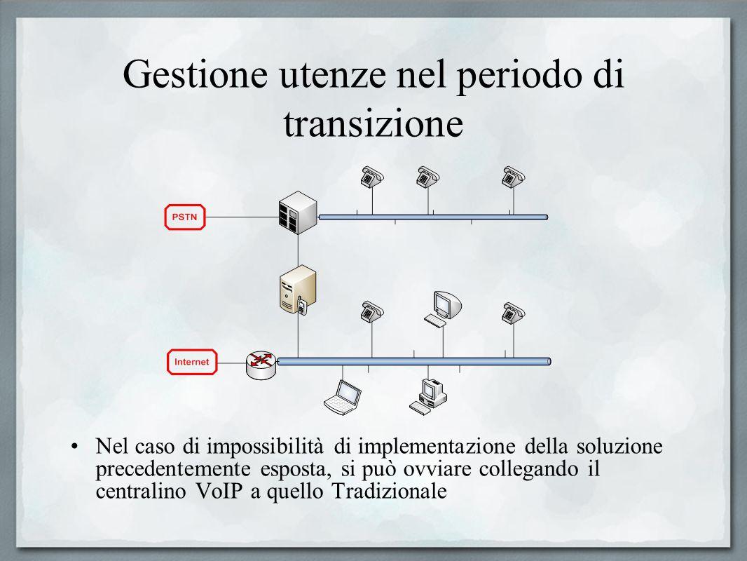 Gestione utenze nel periodo di transizione Nel caso di impossibilità di implementazione della soluzione precedentemente esposta, si può ovviare colleg