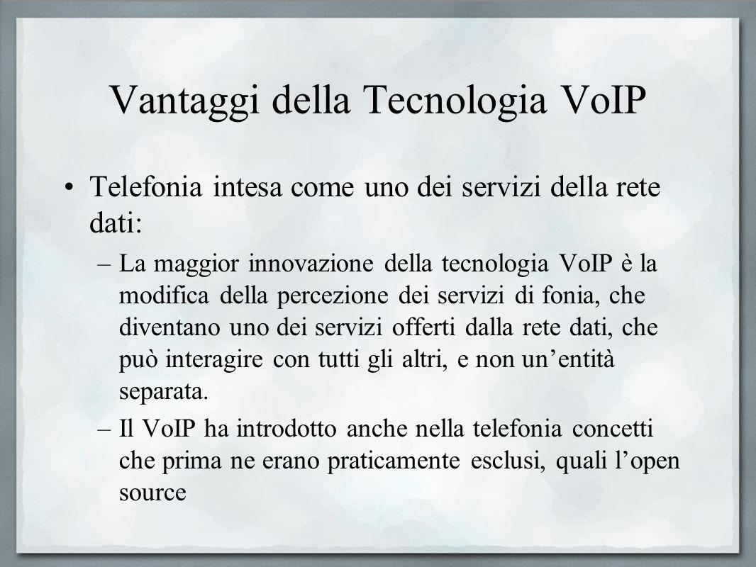 Vantaggi della Tecnologia VoIP Telefonia intesa come uno dei servizi della rete dati: –La maggior innovazione della tecnologia VoIP è la modifica dell