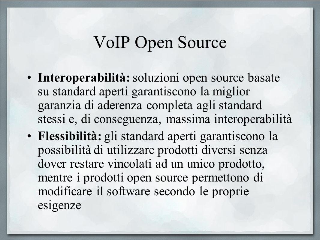 VoIP Open Source Estendibilità di servizi e funzioni: la natura stessa dellopen source garantisce la possibilità di modificare ed aggiungere funzionalità secondo le proprie esigenze Alta disponibilità di plug-in e prodotti aggiuntivi compatibili: comunità di sviluppatori molto attive forniscono già prodotti ed estensioni, perlopiù gratuiti ed open source, in grado di coprire tutte le esigenze più comuni