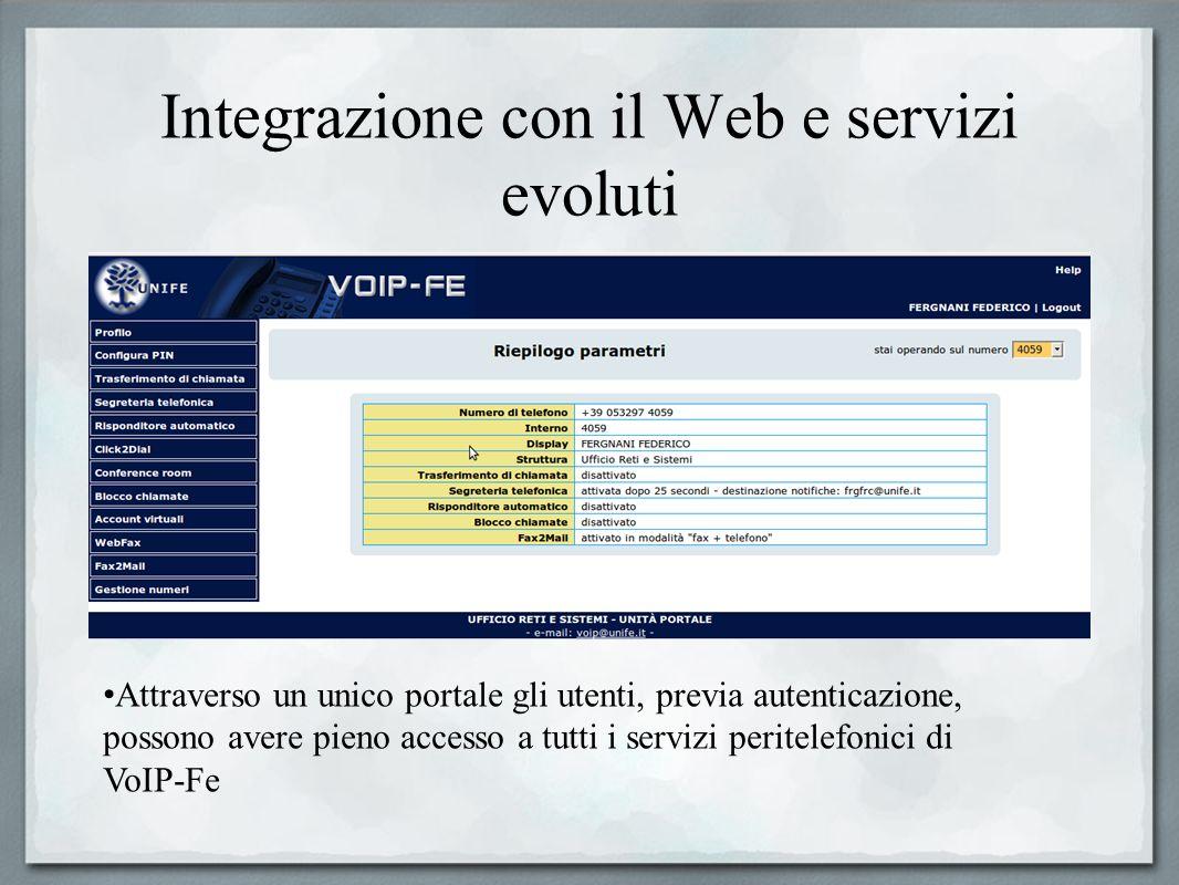 Integrazione con il Web e servizi evoluti Attraverso un unico portale gli utenti, previa autenticazione, possono avere pieno accesso a tutti i servizi