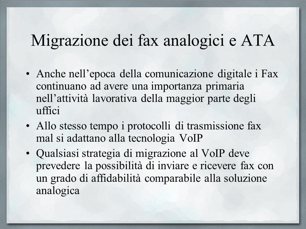 Migrazione dei fax analogici e ATA Anche nellepoca della comunicazione digitale i Fax continuano ad avere una importanza primaria nellattività lavorat