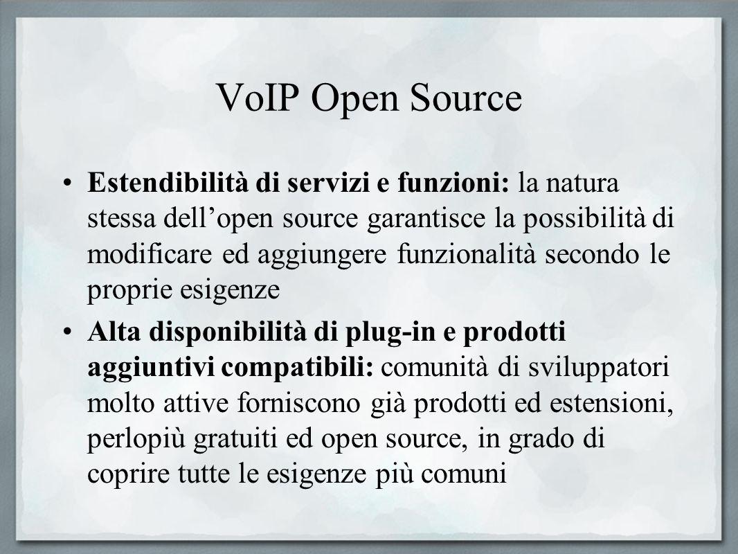 VoIP Open Source Estendibilità di servizi e funzioni: la natura stessa dellopen source garantisce la possibilità di modificare ed aggiungere funzional
