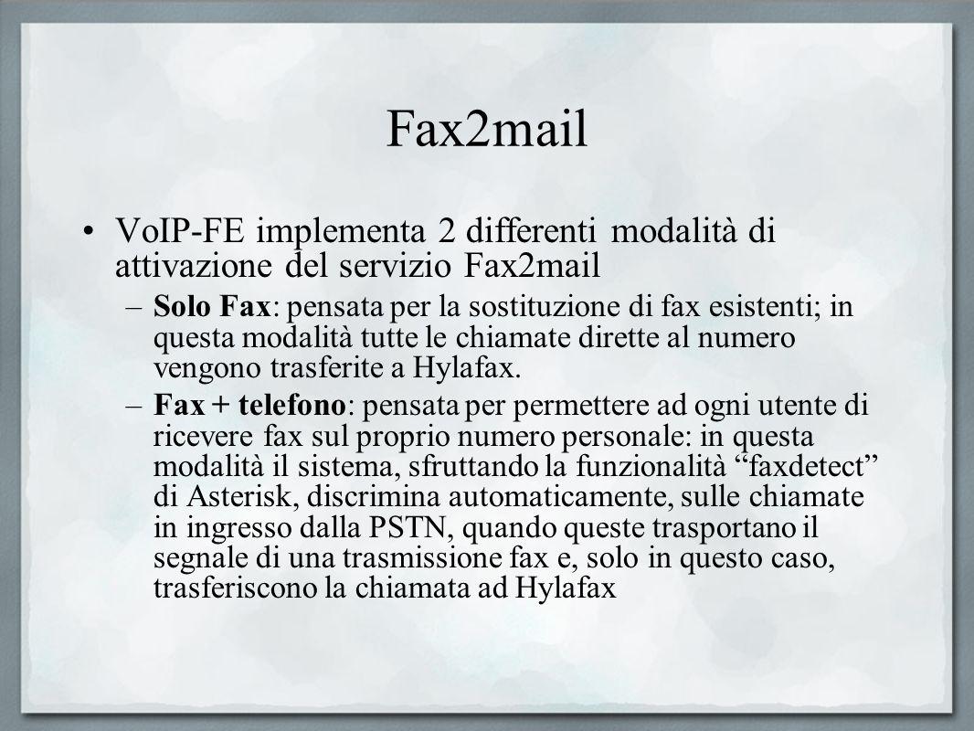 Fax2mail VoIP-FE implementa 2 differenti modalità di attivazione del servizio Fax2mail –Solo Fax: pensata per la sostituzione di fax esistenti; in que