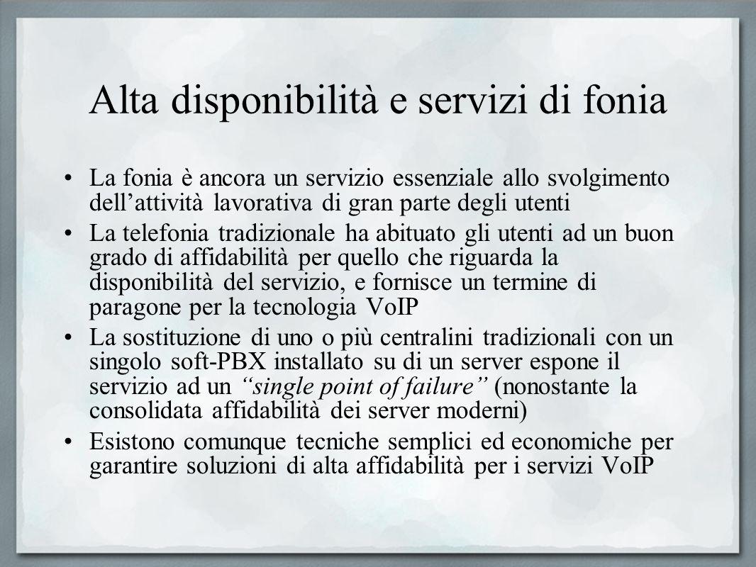 Alta disponibilità e servizi di fonia La fonia è ancora un servizio essenziale allo svolgimento dellattività lavorativa di gran parte degli utenti La