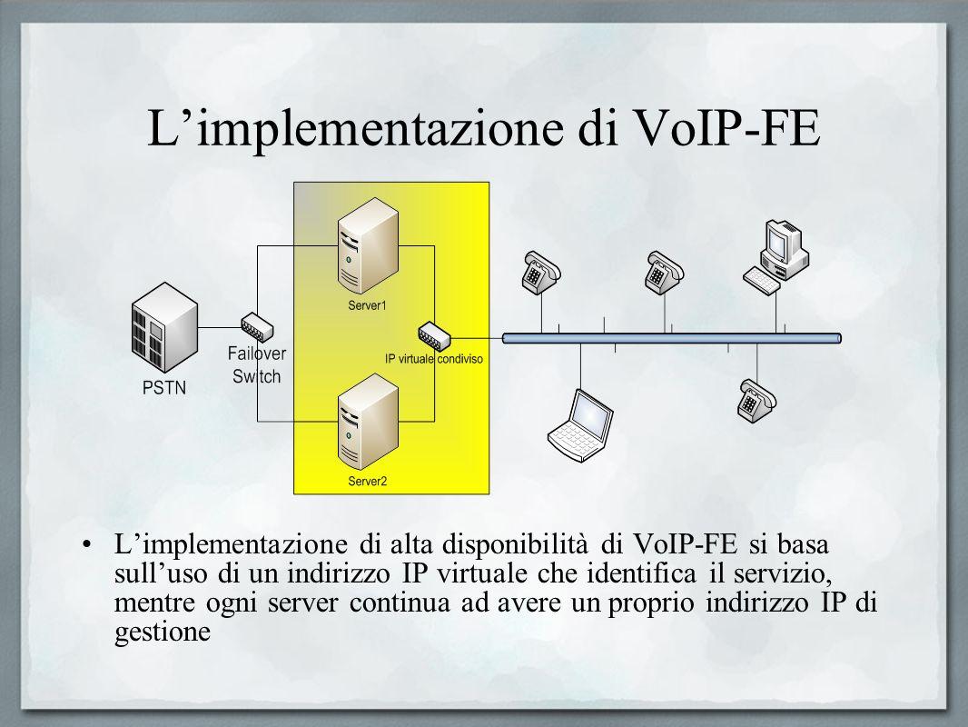 Limplementazione di VoIP-FE Limplementazione di alta disponibilità di VoIP-FE si basa sulluso di un indirizzo IP virtuale che identifica il servizio,