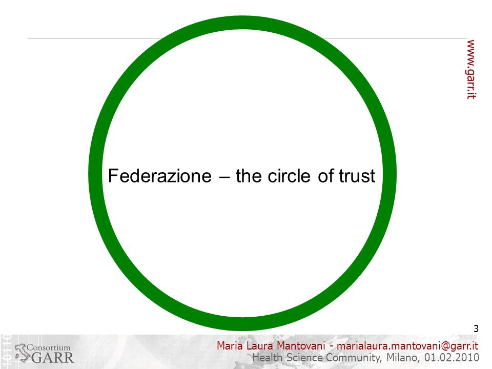Maria Laura Mantovani - marialaura.mantovani@garr.it 3 Health Science Community, Milano, 01.02.2010 Federazione – the circle of trust